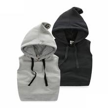 wt-6391 Baby pure spring 2017 new boys wear vest Han children Hooded Fleece Jacket