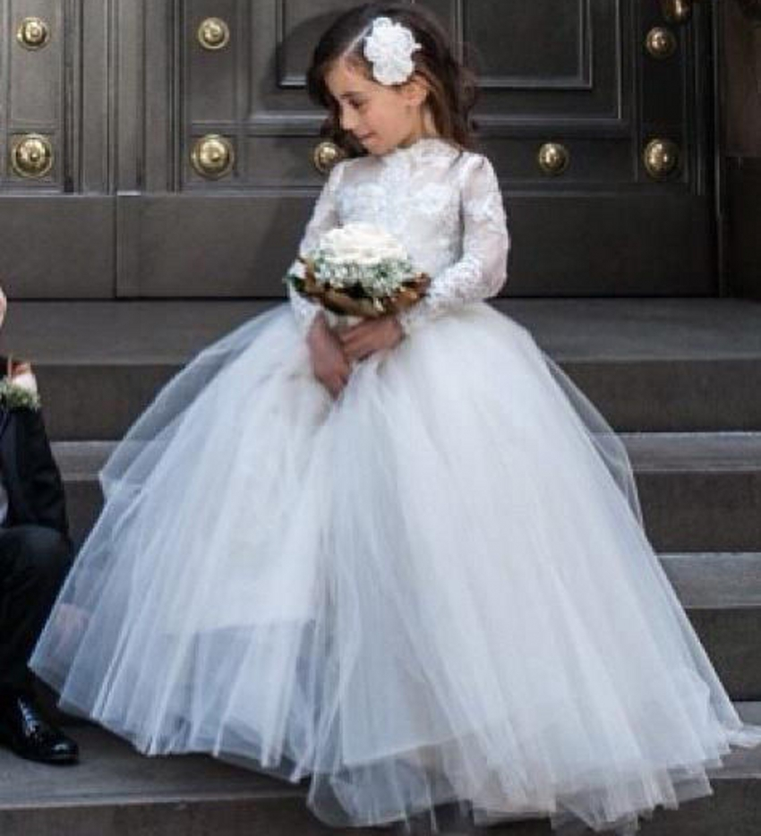 2016 Flowergirls White Lace Long Sleeve Tulle   Flower     Girl     Dresses   for Weddings First Communion   Dresses   for   Girls   Gowns