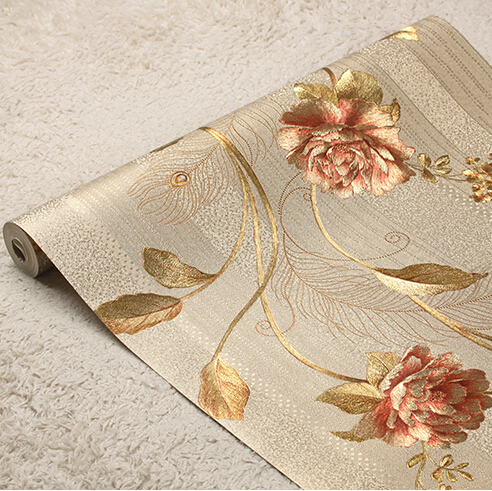 New high quality European luxury floral striped wallpaper 3D gold foil wallpaper roll 3 color romantic floral wall paper mural