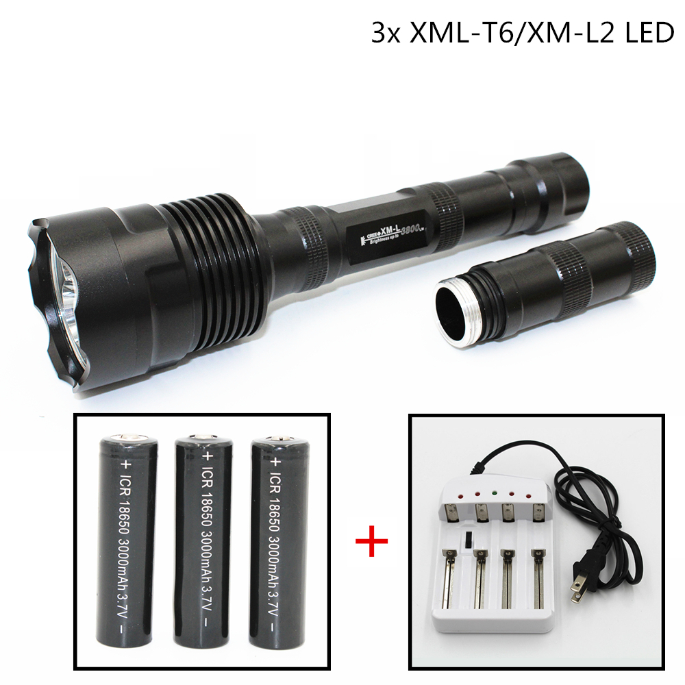 LED Flashlight 3 x XML-T6/XM-L2 3600LM 5 Modes Light Aluminum Torch Outdoor Lamp Power by 2/3 x 18650 battery rechargeable 2000lm tactical cree xm l t6 led flashlight 5 modes 2 18650 battery dc car charger power adapter