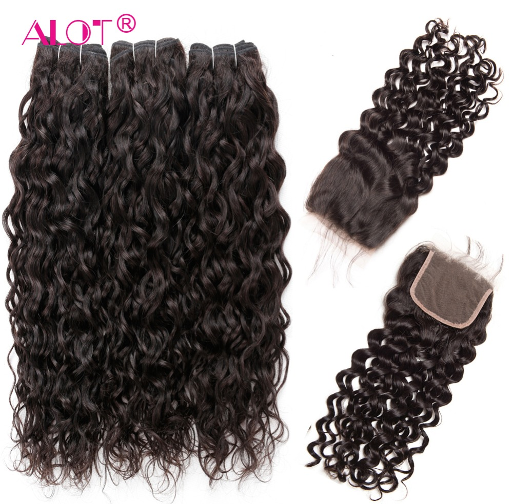 Alot Vietnamese Water Wave Bundles With Closure Non Remy Human Hair Extension 3 Bundles Human Hair
