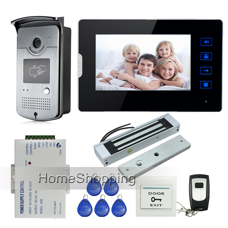 7 Touch Screen Video Door Phone Intercom 1 Monitor + Waterproof RFID Access Camera + 180kg Electric Magnetic Lock FREE SHIPPING free shipping new 7 touch monitor video intercom door phone system waterproof rfid reader door camera electric strike slock