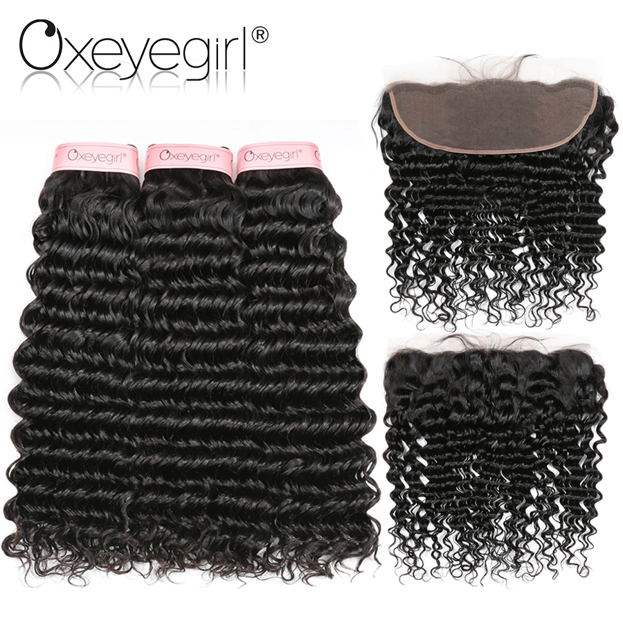 Oxeye girl Peruvian Deep Wave Bundles With Frontal 3 Pcs Human Hair Bundles With Lace Frontal Non Remy Human Hair Extensions