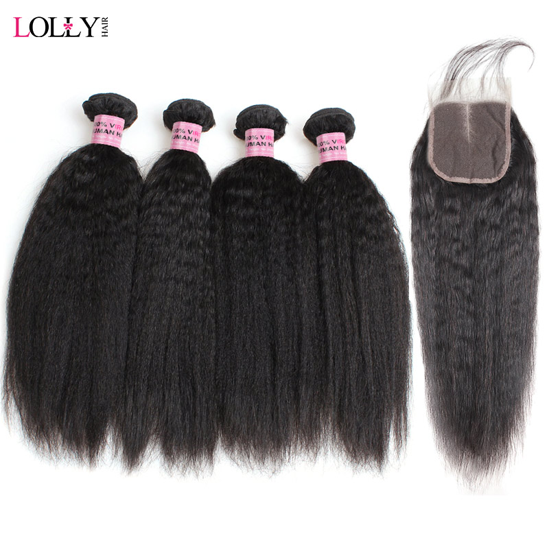 Lolly Yaki Straight Human Hair Weaves With Closure 3/4 Bundles With Closure Non Remy Brazilian Hair Weave Bundles With Closure