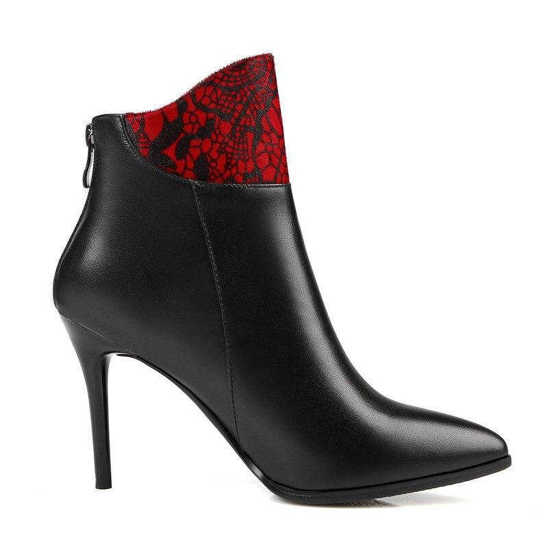 Genuino Moda Super Elegante Mujeres Punta Thin De Zapatos Tacones Botines Estrecha Cremallera Grande Tamaño La Cuero 43 Naturaleza Adoración Nueva w1YpIOq