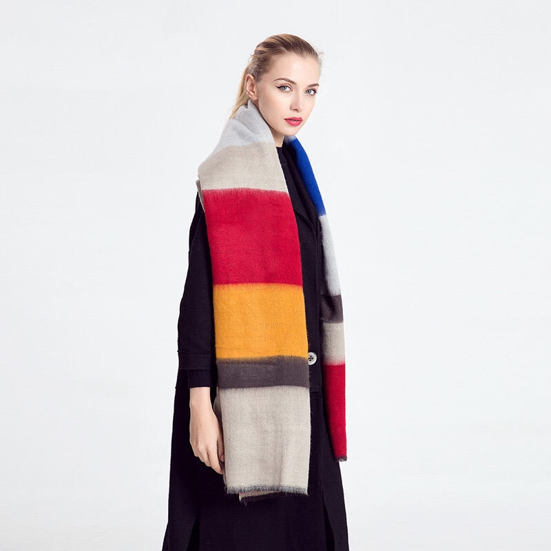 Mingjiebihuo Autumn And Winter New Scarf Color Wide Stripes Europe And The United States Fan Comfort Shawl Thick Girls