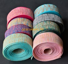 Multicolor hemp cotton ribbon fabric for fascinator hair accessory hat bag clothes decoration belt.