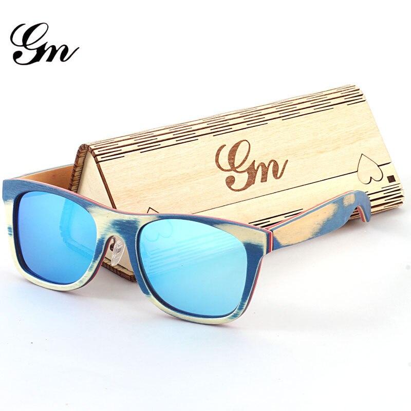 G M skateboard wooden frame sunglasses men and women multi color ...