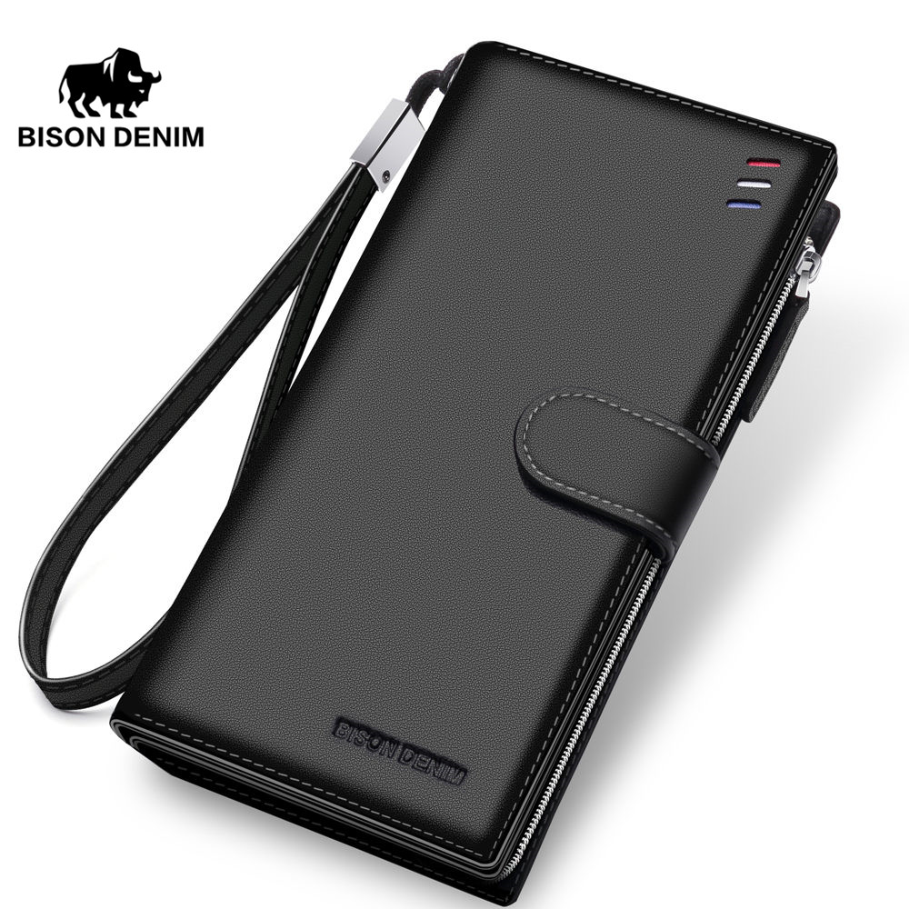 BISON DENIM brand men wallets genuine leather long zipper clutch purse large capacity card holder wallet