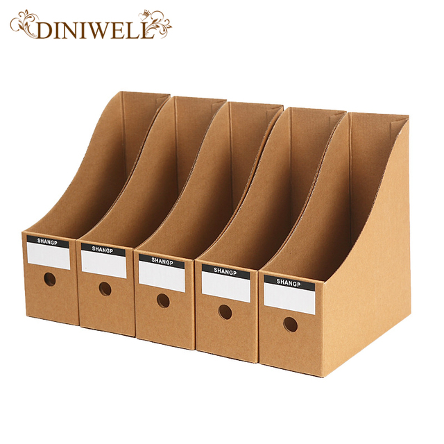 DINIWELL 5 PCS Kraft Paper Collapsible Storage Boxes Desktop ...