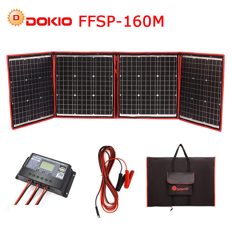 Dokio 160W 18V Black Solar Panels only China Foldable 12 24V Volt Controller font b portable