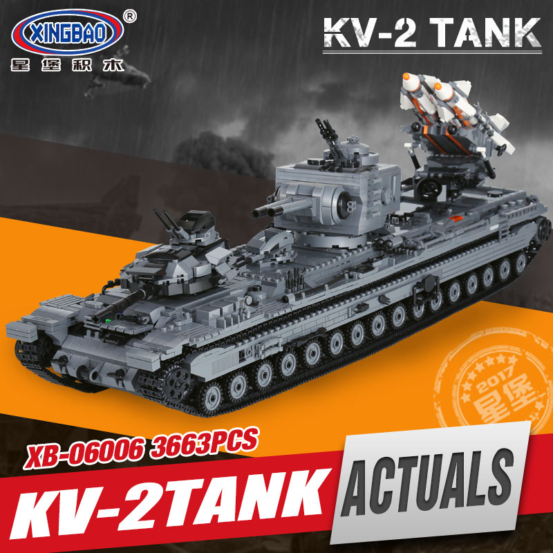 XingBao 06006 3663Pcs Creative MOC Military Series The KV-2 Tank Set children Educational Building Blocks Bricks Toys Model Gift 128pcs military field legion army tank educational bricks kids building blocks toys for boys children enlighten gift k2680 23030