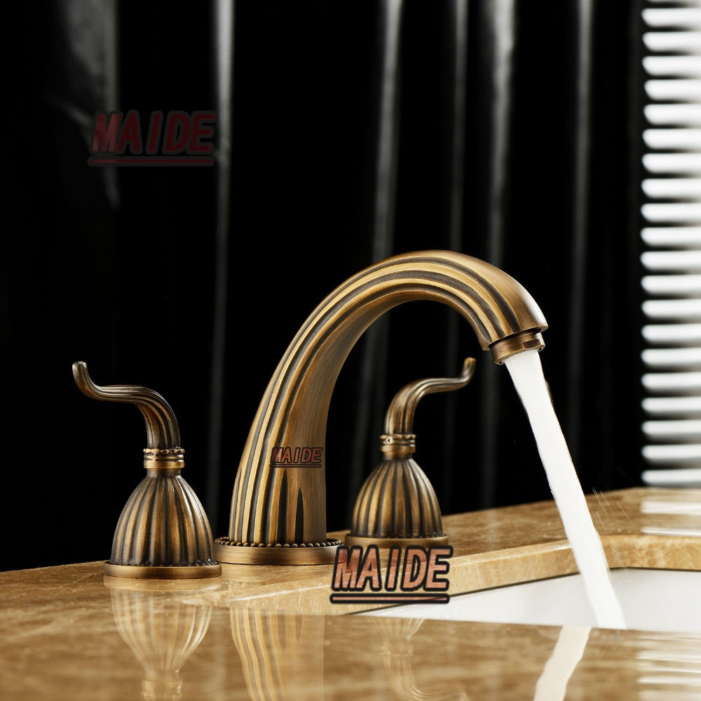 Sale Elegant Antique Brass Finish Widespread Bathroom Sink Faucet ...