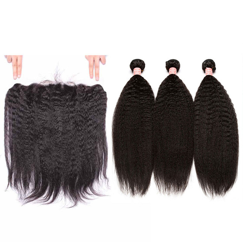 4 PCS Kinky Straight Lace Frontal Closure With Bundles Brazilian Remy Hair Natural Black Pre Plucked Sunny Queen Hair Products