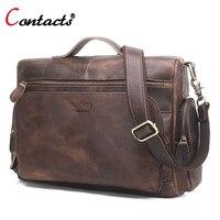 CONTACT S Genuine Leather Men Bag Shoulder Crossbody Bag Vintage Brown Male Multifunctional Messenger Bag Famous