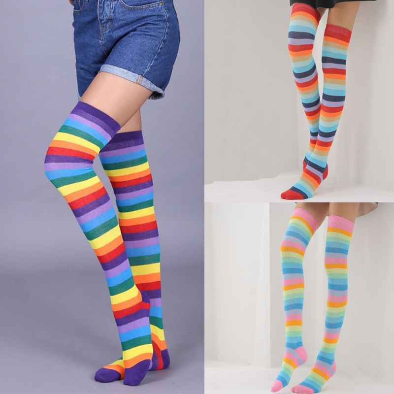 40d0e57e8de72 Detail Feedback Questions about Women Girls Mixed Colored Rainbow Striped  Long Boot Thigh High Stockings Knitted Over The Knee Socks Cotton Leg  Warmer Party ...