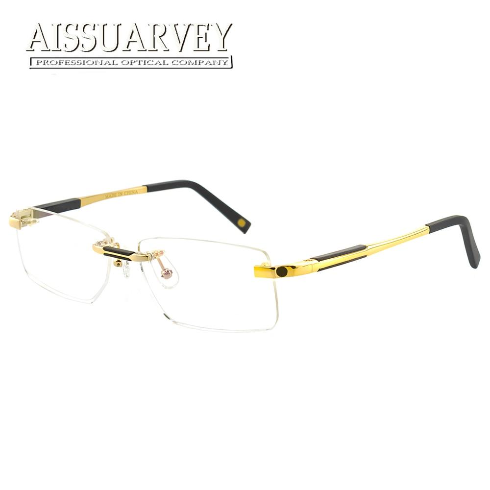 f87e76a3c408e Rimless Eyeglasses Men Fashion Brand Designer Glasses Frames Prescription  Eyewear Optical Luxury Business Goggles Spring Leg New