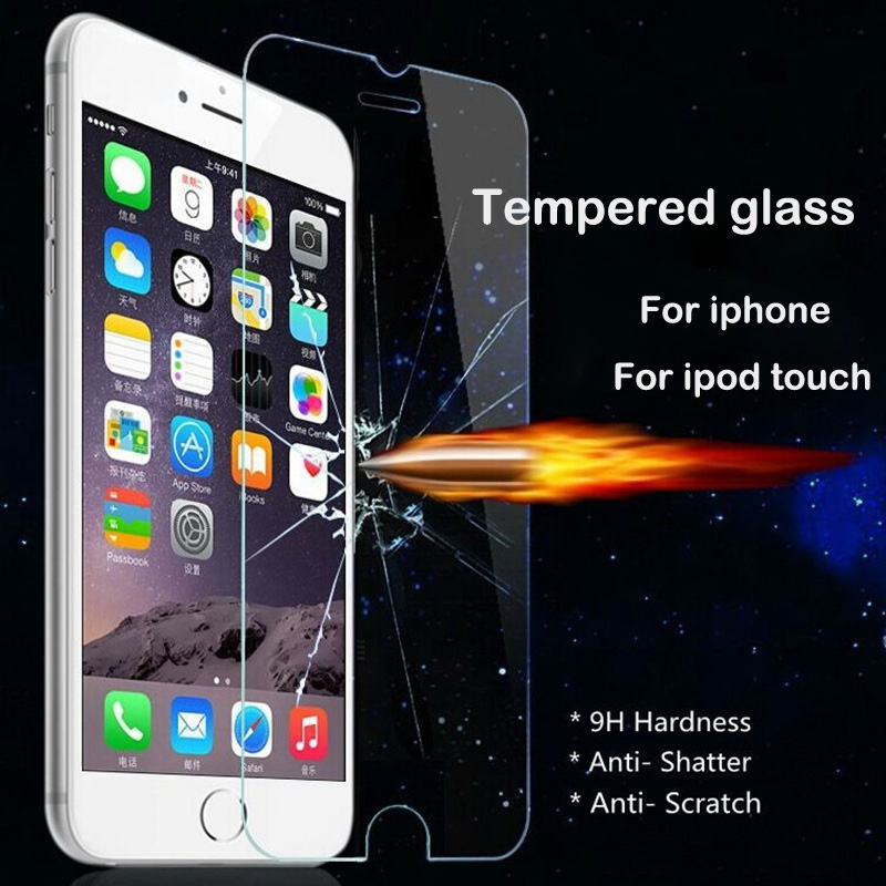 Закаленное Стекло для iPhone 4 4S 5 5S 5C SE 6 6 S плюс iPod Touch 4 5 6 Протектор Экрана Закаленное Стекло Защитная Пленка