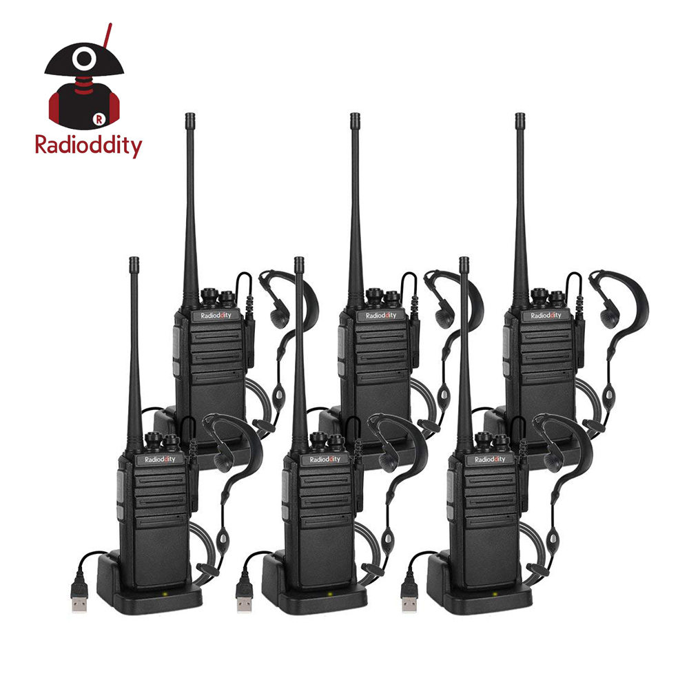 6 Pcs Radioddity GA-2S Walkie Talkie 400-470MHz 2W Two Way Radio Rechargeable VOX Long Range USB Charger Earpiece Program Cable