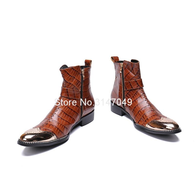 Correa Diseño Hombres Marrón Brown Acero Moda Bordeado Con De Punta Cristal Seguridad Invierno Cuero Zapatos Botas Hebilla Mens USqZT6nY