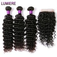 Brazilian Hair Weave Bundles Deep Wave 3 Bundles With Closure Natural Color Free Shipping 100 Human
