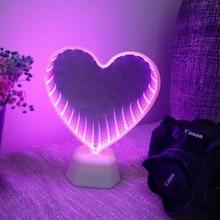 Xsky ليلة ضوء نفق مصابيح إنفينيتي أضواء مرآة LED ليلة مصباح لطيف ثلاثية الأبعاد القلب الإبداعية الجدة الصبار يونيكورن للمنزل Led