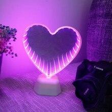 Xsky 밤 빛 터널 램프 무한 거울 조명 led 밤 램프 귀여운 3d 심장 크리 에이 티브 참신 선인장 유니콘 홈 led