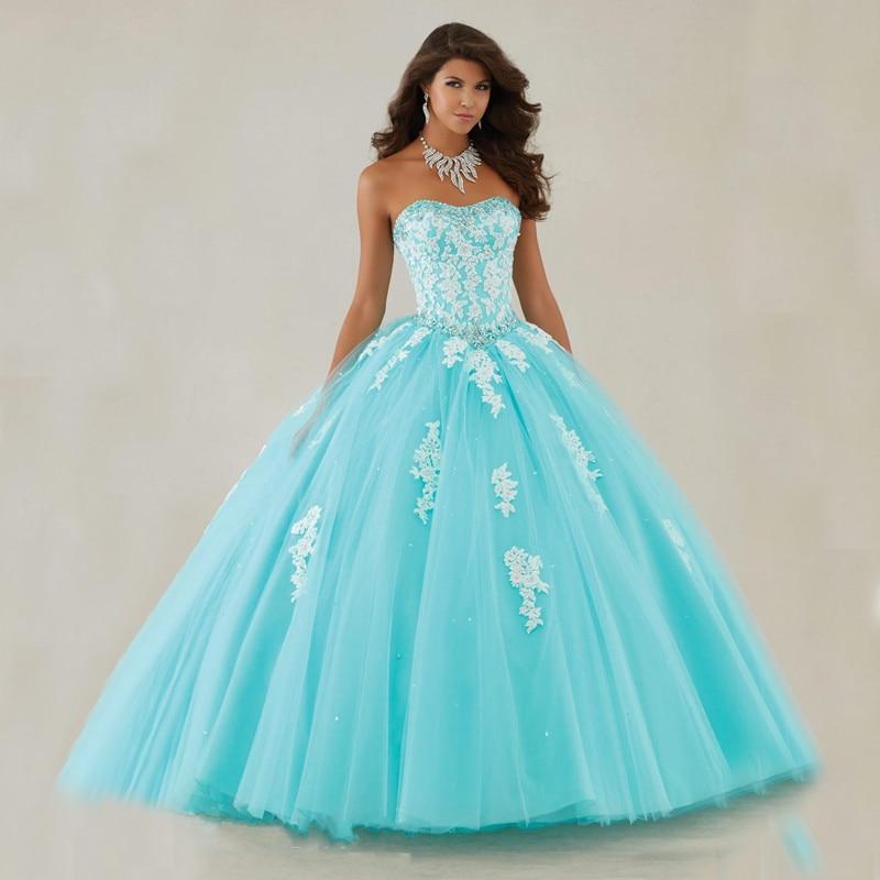 Robe de 19 anos bleu clair Quinceanera robe avec Appliques de dentelle robe de bal sans bretelles doux 2019 robes robes de Quinceanera