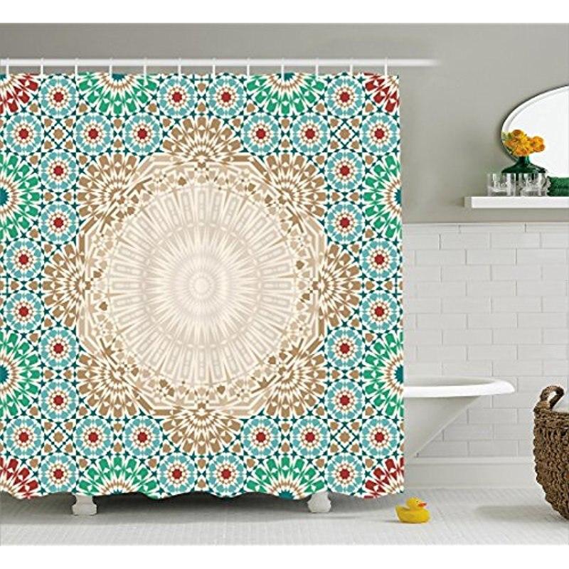 Blue Green Shower CurtainOriental Mandala Ornament Iranian Ethnic Motif With Floral DetailsCloth Fabric Bathroom