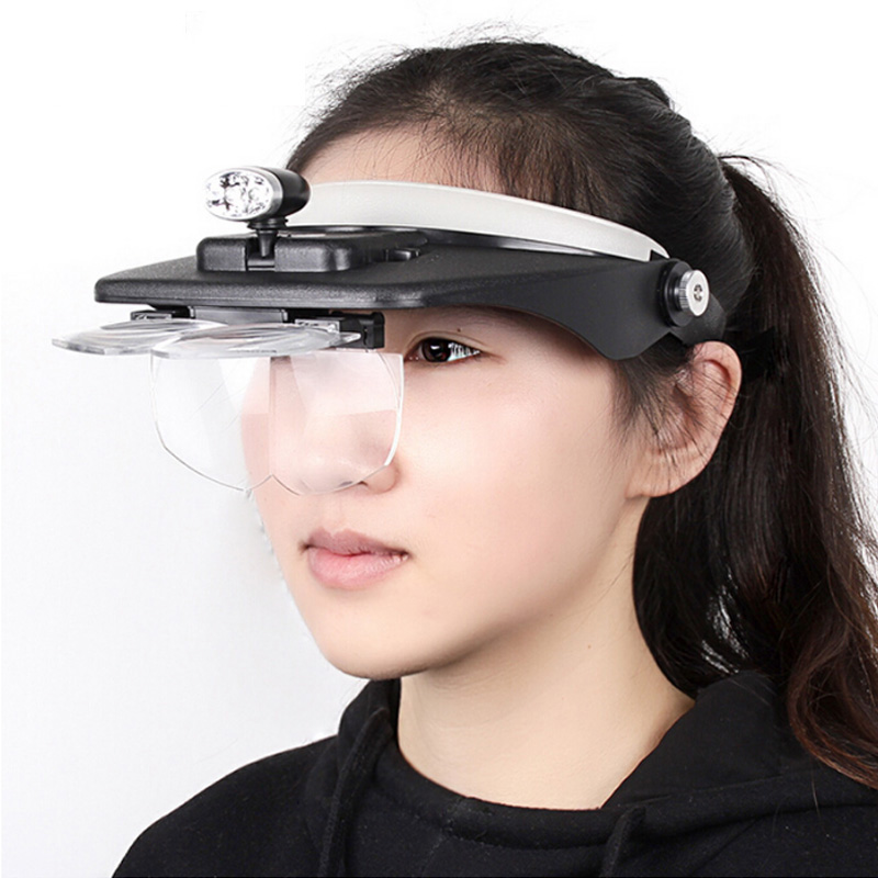 Head Magnifying Glasses with LED 10 Power Magnifier for Reading Optivisor Magnifying Glass Loupes Jewelry Watch Repair 3 Lamp 5lens led light lamp loop head headband magnifier magnifying glass loupe 1 3 5x y103