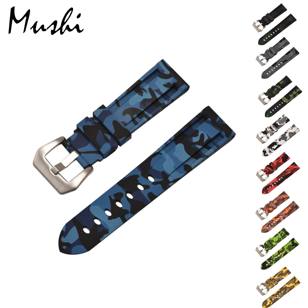 Mushi Rubber Silicone Strap  Watchbands   For Panerai CamouflageMen Color Women Straps Belt Stainless Steel Buckle 22mm 24mm