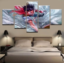 купить Decoration Outrage Painting Frame Canvas Wall Art Prints Animation Poster 5 Piece One Piece Monkey D. Luffy Pictures Living Room дешево