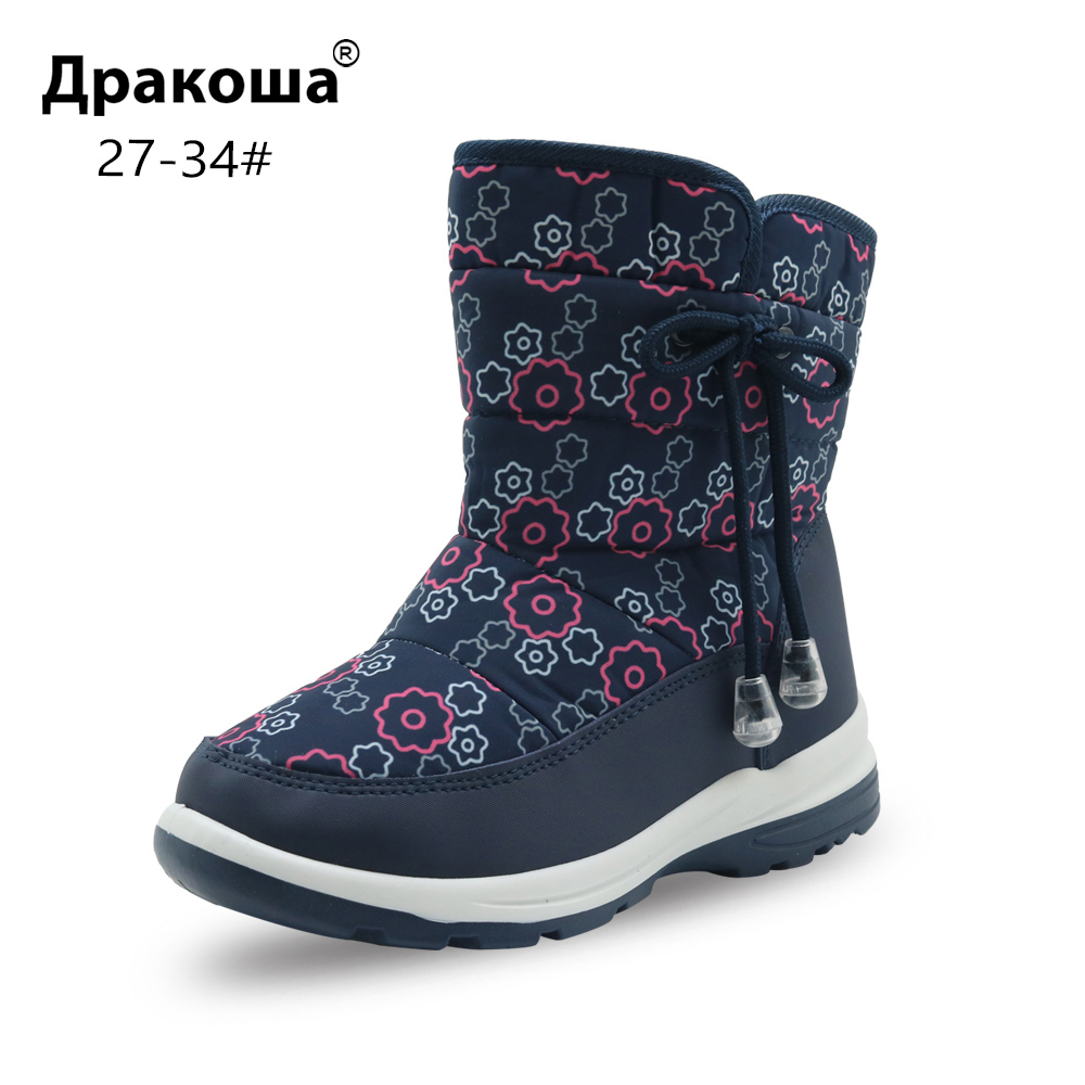 Apakowa Girl's Snow Boots for Toddler Little Kids Children's Skid Proof Warm Woolen Mid-Calf Winter Boots Cold Weather Footwear цена