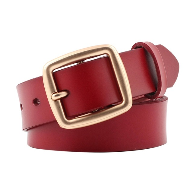 7aa4954a19c US $4.27 |9 Styles Vintage Belts Women Real Genuine Leather Belt Black  Waistband Ladies Gold Square Buckle Waist Belts For Dress Jeans-in Women's  ...