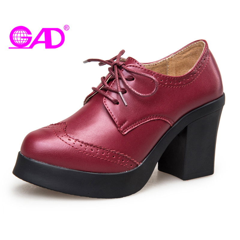 GAD Women High Heels Pumps 2017 Autumn New Arrival Round Toe Lace-up Women Square Heel Shoes Fashion Casual Platform Women Pumps big size 11 12 elegant round toe lace up casual square heel women s shoes high heels pumps woman for women