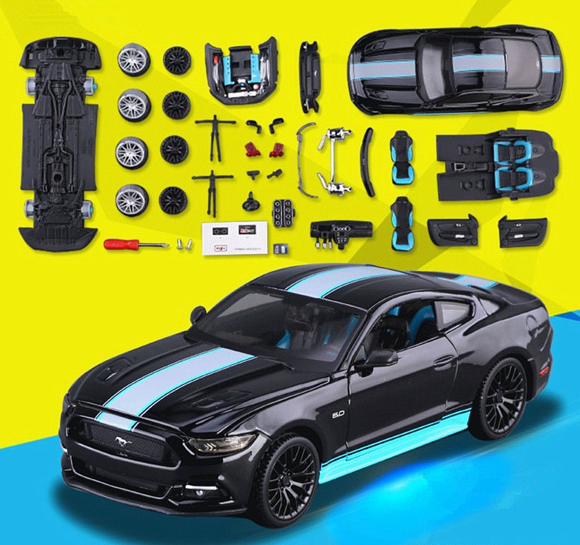 Maisto 1:24 2015 FORD MUSTANG GT 5.0 Assembly DIY Racing Car Diecast MODEL KITS