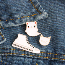 Cute Cartoon Animal Brooches White Cat Shoes Sneakers Enamel Pin Clothes Shirt Lapel Pin Hat Bag Badges Women Jewelry Kid Gifts(China)