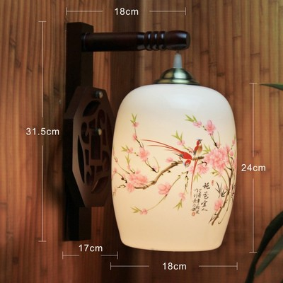 LED Vintage Arm Wall Lamp E27 Jingdezhen Porcelain Lampshade  Wood Holder Bedroom Night  Light Hotel Lamp Lighting Wall Lights anqiue led ceiling lamp beautiful chandelier jingdezhen porcelain light for dining bedroom hotel free shipping