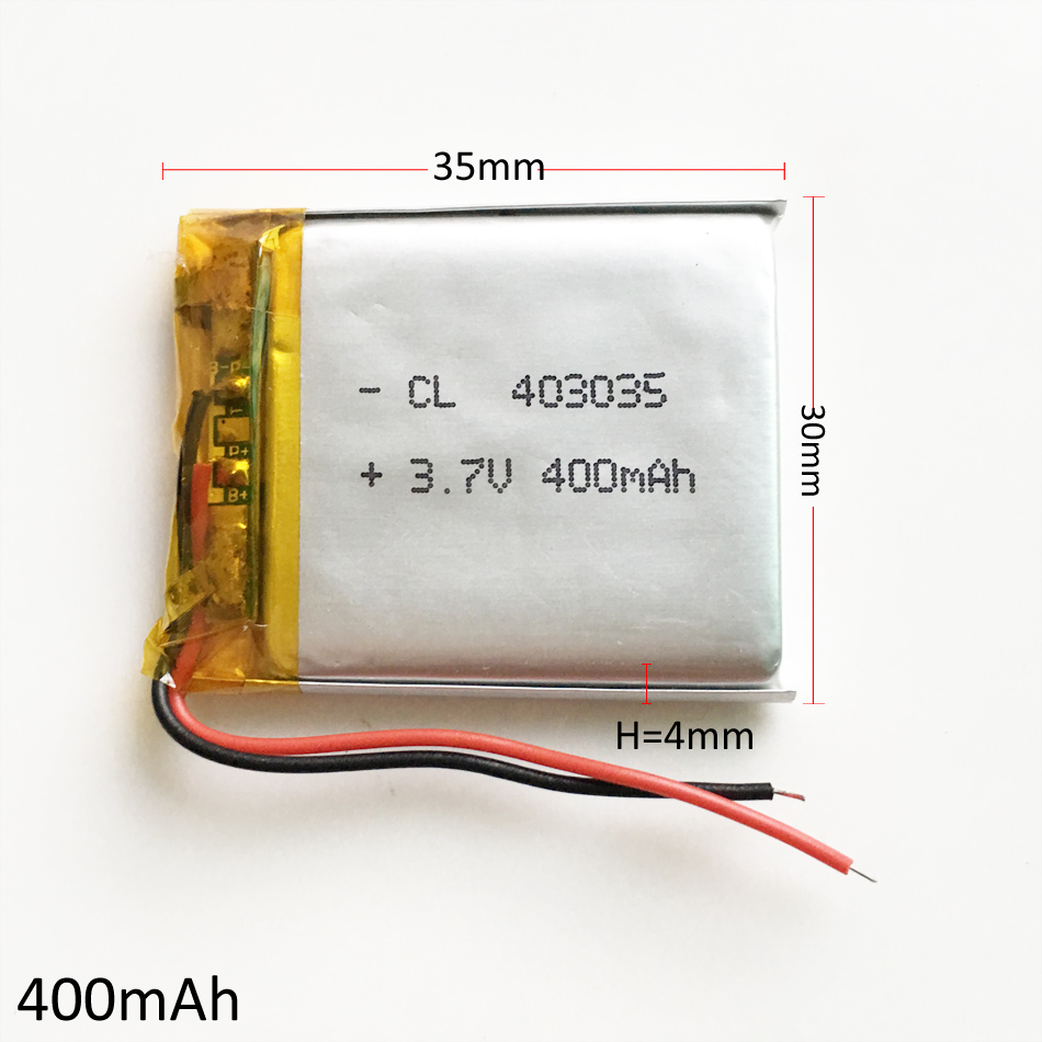 <font><b>3.7V</b></font> <font><b>400mAh</b></font> 403035 Lithium Polymer Li-Po Rechargeable Battery For DIY Mp3 DVD CAMERA GPS PSP bluetooth electronic part image