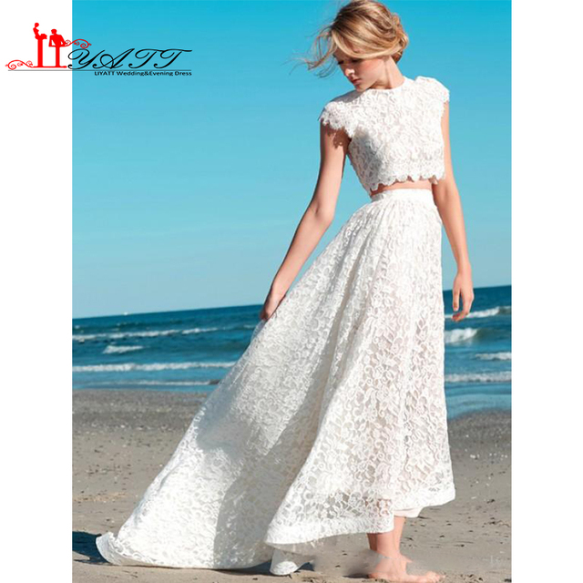 6b3ea4491b 2017 Sexy Two Pieces Bohemian Wedding Dresses Lace Crop Top Vintage High  Low Boho Beach Wedding Dress Bridal Gowns Custom Made