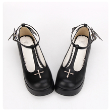 Fashion women shoes black halloween embroidery cross angel wings shoes gothic lolita shoes anime cosplay shoes lolita loli cos princess sweet lolita gothic lolita shoes lolita cos punk wedges increased women s shoes deep red 9101