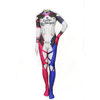 2018 Hot Movie Suicide Squad Harley Quinn Cosplay Costume 3D Print Women Girls Lycra Zentai Jumpsuits