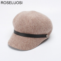 ROSELUOSI Women Newsboy Caps For Autumn Winter Wool Knitted Berets Hat Casual Solid Color Octagonal Hat