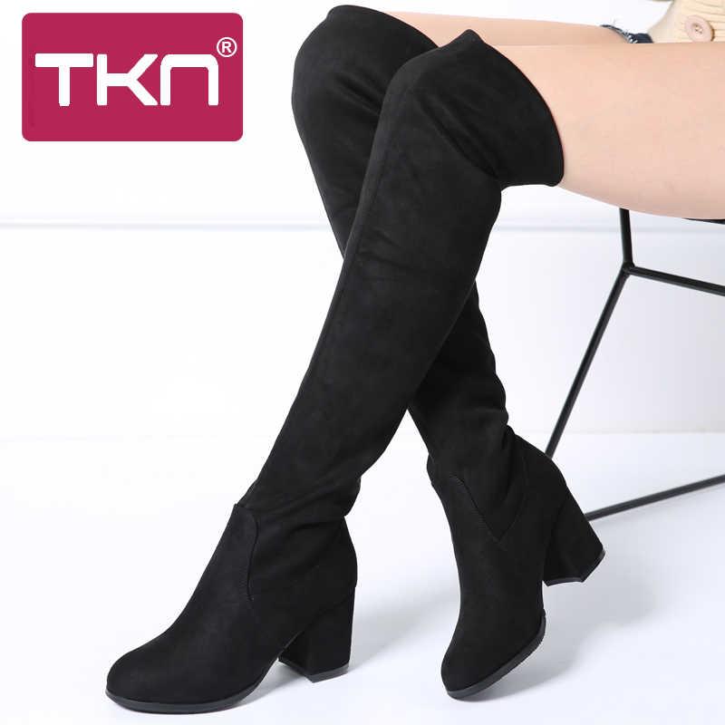 TKN 2019 Kış Kadın Diz Üzerinde Yüksek Çizmeler Faux Süet Ince Kar Botları Chaussure Femme Uyluk Yüksek Çizmeler Ayakkabı kadın A7511