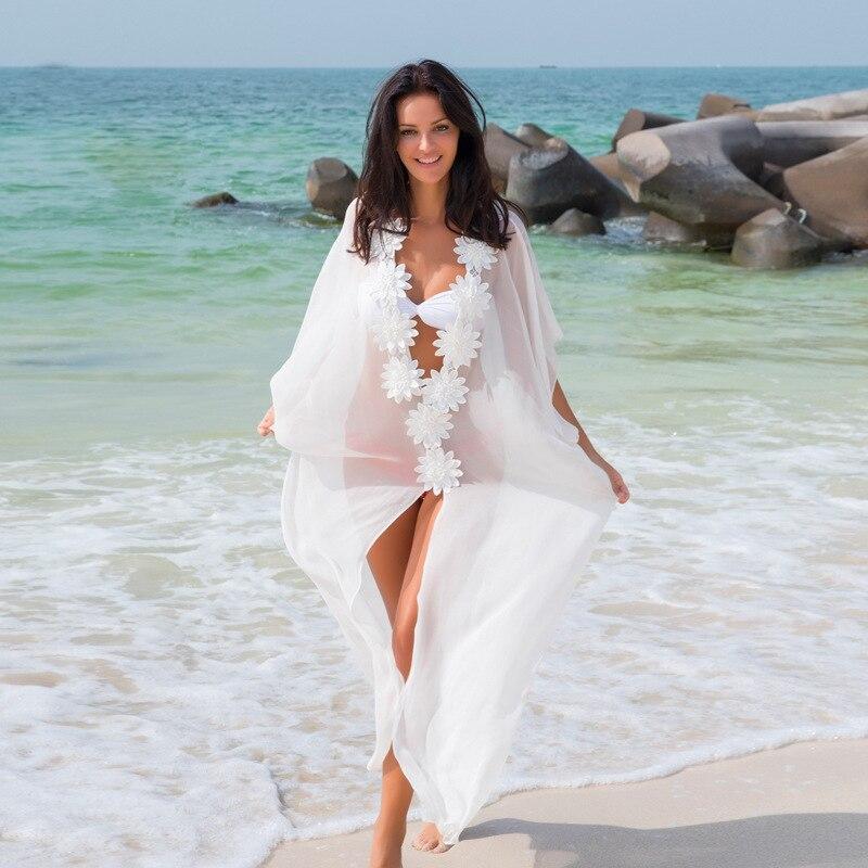 6e20b04088 Black White Floral Chiffon Long Beach Dress Tunic Beach Kaftan Sarongs Bathing  Suit Swimsuit Cover Ups Swimwear Saida De Praia-in Cover-Ups from Sports ...