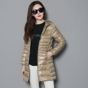 Image 2 - Mujer otoño Chaqueta larga acolchada con capucha pato blanco abajo mujer sobretodo Ultra ligero Delgado sólido chaquetas abrigo Parkas portátiles