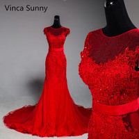 Vinca Sunny Real Photo 2017 High Quality Elegant Lace Applique Red Mermaid Wedding Dresses Vestidos De