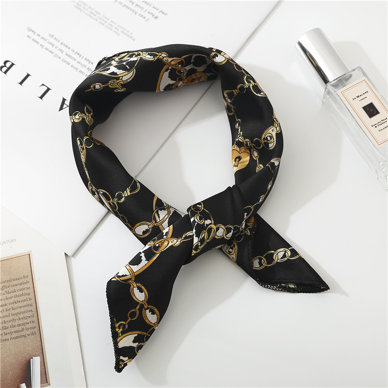 New Ladies Square Scarf Printing Silk Scarves Women Office Striped Neckerchief Soft Fashion Leopard Foulard Bandana