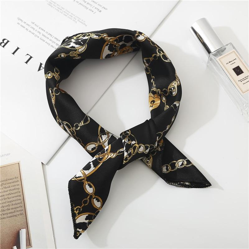 New Ladies Square Scarf Printing Silk Scarves Women Office Striped Neckerchief Soft Fashion Leopard Foulard Bandana