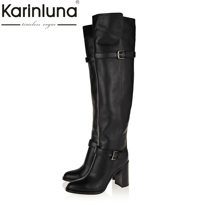 KARINLUNA 2018 Large Size 31-45 genuine leather women shoes woman long boots autumn winter high heels party boots
